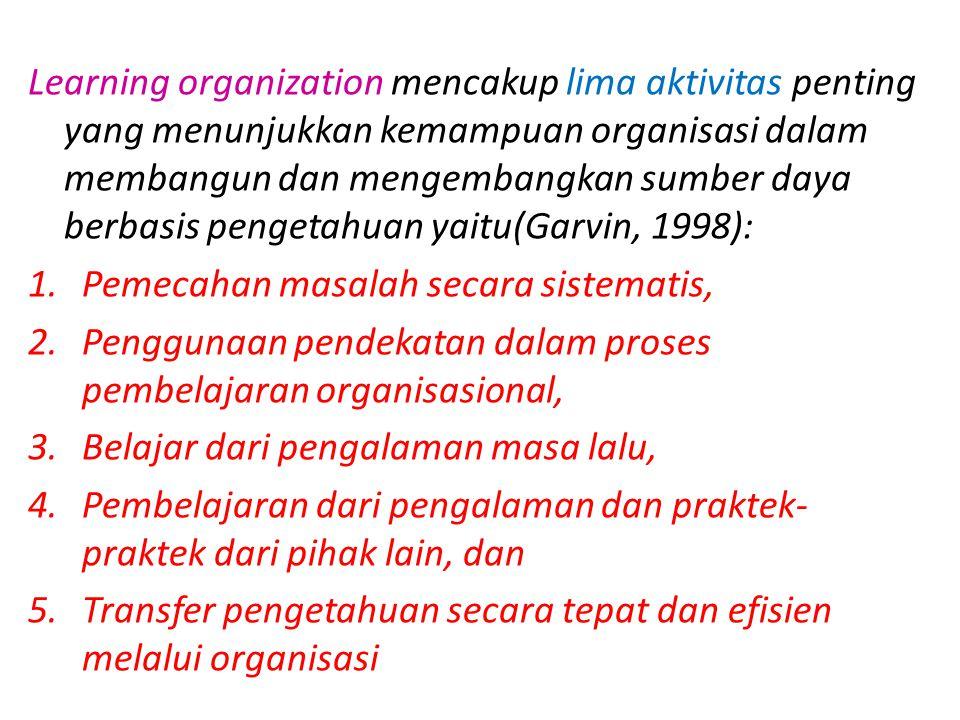 Learning organization mencakup lima aktivitas penting yang menunjukkan kemampuan organisasi dalam membangun dan mengembangkan sumber daya berbasis pen