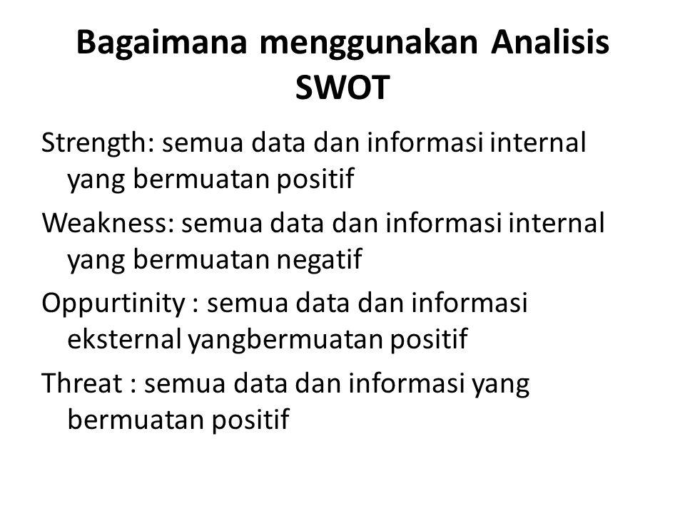 Bagaimana menggunakan Analisis SWOT Strength: semua data dan informasi internal yang bermuatan positif Weakness: semua data dan informasi internal yan