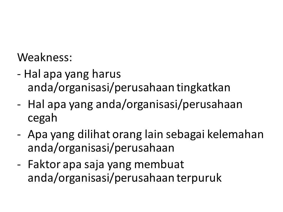Weakness: - Hal apa yang harus anda/organisasi/perusahaan tingkatkan -Hal apa yang anda/organisasi/perusahaan cegah -Apa yang dilihat orang lain sebag
