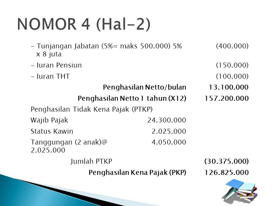 Pengurangan - Tunjangan Jabatan (5%= maks 500.000) 5% x 8 juta (400.000) - Iuran Pensiun(150.000) - Iuran THT(100.000) Penghasilan Netto/bulan13.100.0