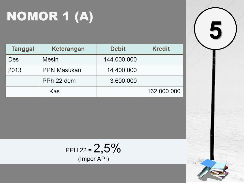 NOMOR 1 (A) TanggalKeteranganDebitKredit DesMesin144.000.000 2013PPN Masukan14.400.000 PPh 22 ddm3.600.000 Kas162.000.000 PPH 22 = 2,5% (Impor API) 5