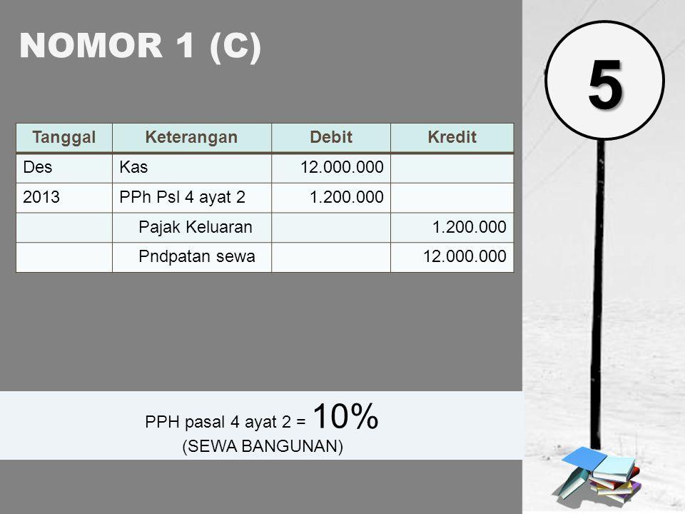 NOMOR 1 (D) TanggalKeteranganDebitKredit DesBiaya jasa akuntan10.000.000 2013PPN Masukan1.000.000 Utang PPh 23200.000 Kas10.800.000 PPH 23 = 2% (JASA) 5