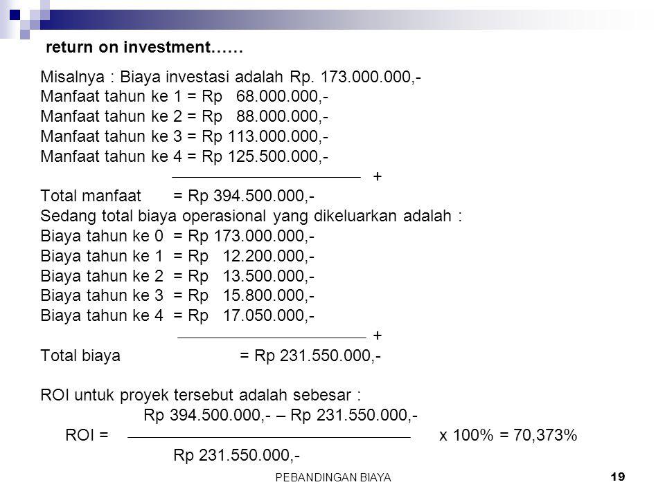 PEBANDINGAN BIAYA19 Misalnya : Biaya investasi adalah Rp. 173.000.000,- Manfaat tahun ke 1 = Rp 68.000.000,- Manfaat tahun ke 2 = Rp 88.000.000,- Manf