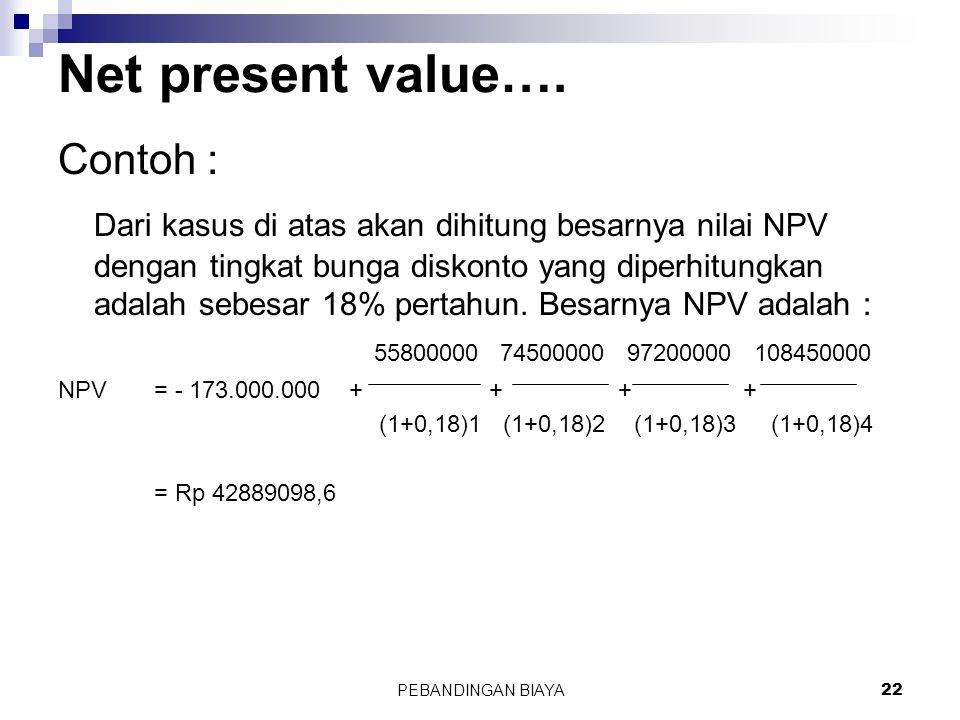 PEBANDINGAN BIAYA22 Contoh : Dari kasus di atas akan dihitung besarnya nilai NPV dengan tingkat bunga diskonto yang diperhitungkan adalah sebesar 18%