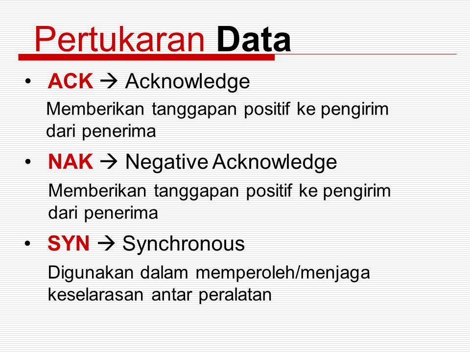 Pertukaran Data ACK  Acknowledge Memberikan tanggapan positif ke pengirim dari penerima NAK  Negative Acknowledge Memberikan tanggapan positif ke pe