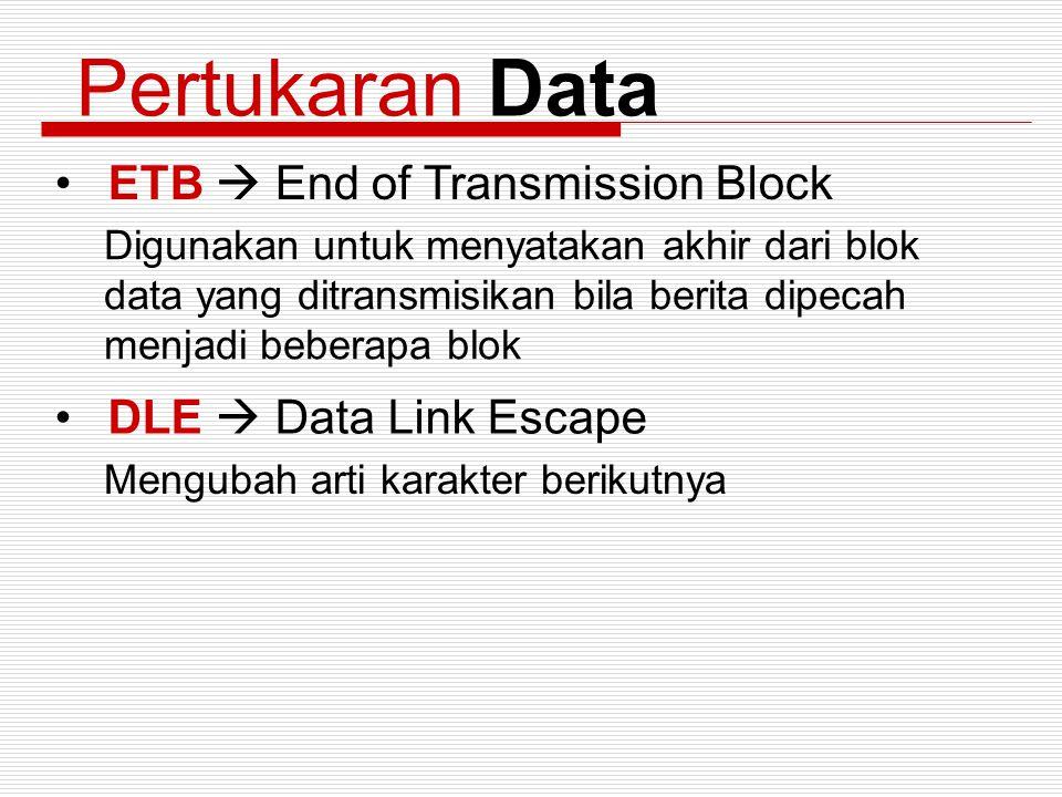 Pertukaran Data ETB  End of Transmission Block Digunakan untuk menyatakan akhir dari blok data yang ditransmisikan bila berita dipecah menjadi bebera