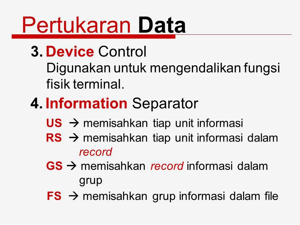 Pertukaran Data 3.Device Control Digunakan untuk mengendalikan fungsi fisik terminal. 4.Information Separator US  memisahkan tiap unit informasi RS 