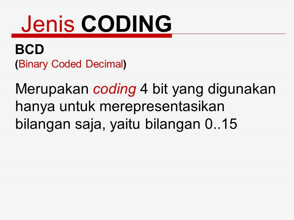 Jenis CODING BCD (Binary Coded Decimal) Merupakan coding 4 bit yang digunakan hanya untuk merepresentasikan bilangan saja, yaitu bilangan 0..15