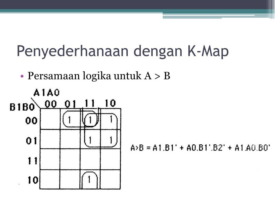 Penyederhanaan dengan K-Map Persamaan logika untuk A > B