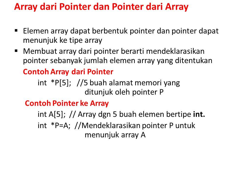 Array dari Pointer dan Pointer dari Array  Elemen array dapat berbentuk pointer dan pointer dapat menunjuk ke tipe array  Membuat array dari pointer berarti mendeklarasikan pointer sebanyak jumlah elemen array yang ditentukan Contoh Array dari Pointer int *P[5]; //5 buah alamat memori yang ditunjuk oleh pointer P Contoh Pointer ke Array int A[5]; // Array dgn 5 buah elemen bertipe int.