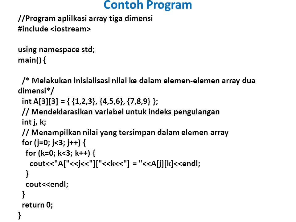 //Program aplilkasi array tiga dimensi #include using namespace std; main() { /* Melakukan inisialisasi nilai ke dalam elemen-elemen array dua dimensi*/ int A[3][3] = { {1,2,3}, {4,5,6}, {7,8,9} }; // Mendeklarasikan variabel untuk indeks pengulangan int j, k; // Menampilkan nilai yang tersimpan dalam elemen array for (j=0; j<3; j++) { for (k=0; k<3; k++) { cout<< A[ <<j<< ][ <<k<< ] = <<A[j][k]<<endl; } cout<<endl; } return 0; } Contoh Program