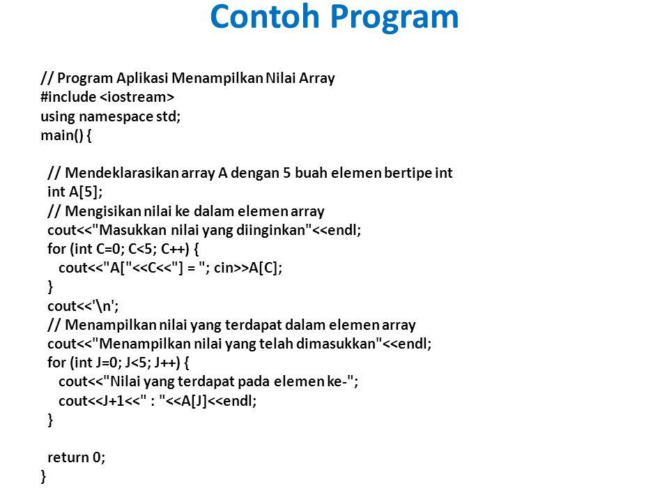 // Program Aplikasi Menampilkan Nilai Array #include using namespace std; main() { // Mendeklarasikan array A dengan 5 buah elemen bertipe int int A[5]; // Mengisikan nilai ke dalam elemen array cout<< Masukkan nilai yang diinginkan <<endl; for (int C=0; C<5; C++) { cout >A[C]; } cout<< \n ; // Menampilkan nilai yang terdapat dalam elemen array cout<< Menampilkan nilai yang telah dimasukkan <<endl; for (int J=0; J<5; J++) { cout<< Nilai yang terdapat pada elemen ke- ; cout<<J+1<< : <<A[J]<<endl; } return 0; } Contoh Program