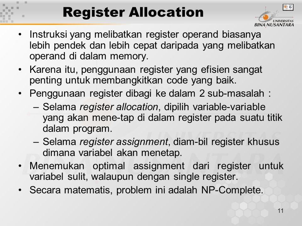 11 Register Allocation Instruksi yang melibatkan register operand biasanya lebih pendek dan lebih cepat daripada yang melibatkan operand di dalam memory.