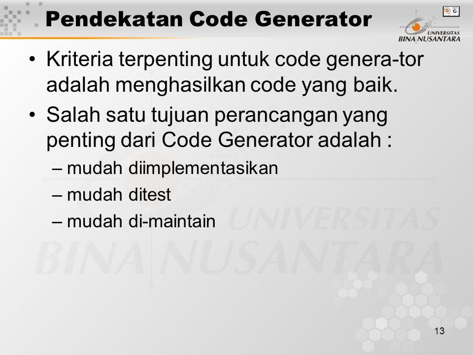 13 Pendekatan Code Generator Kriteria terpenting untuk code genera-tor adalah menghasilkan code yang baik.