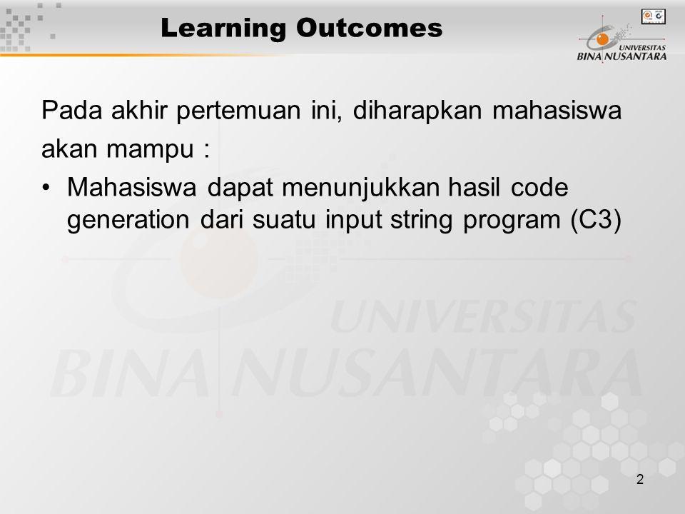 2 Learning Outcomes Pada akhir pertemuan ini, diharapkan mahasiswa akan mampu : Mahasiswa dapat menunjukkan hasil code generation dari suatu input string program (C3)