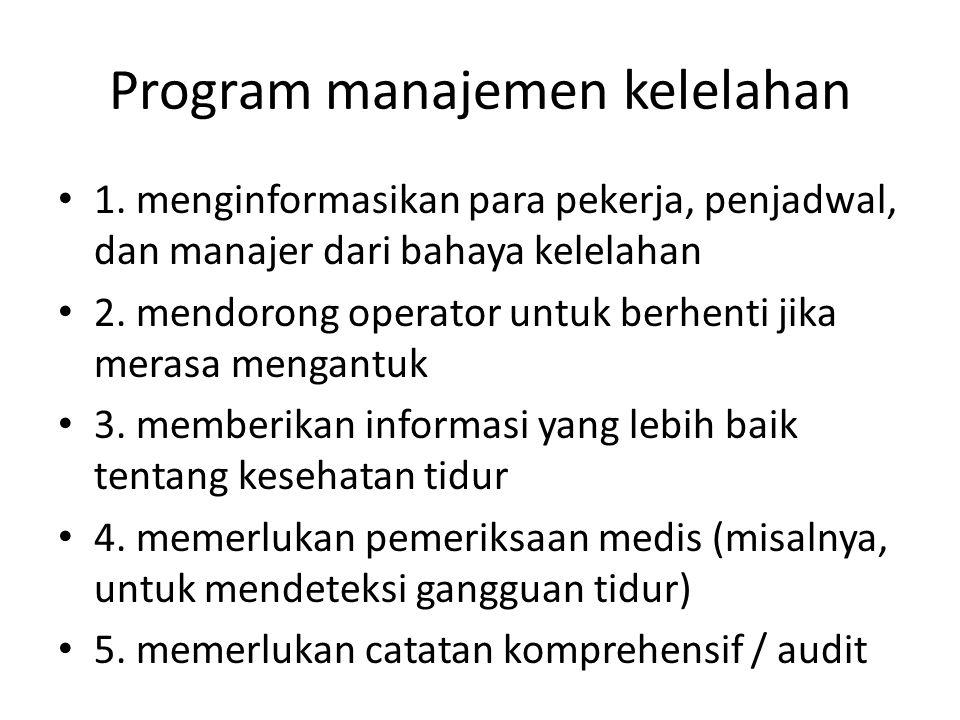 Program manajemen kelelahan 1. menginformasikan para pekerja, penjadwal, dan manajer dari bahaya kelelahan 2. mendorong operator untuk berhenti jika m