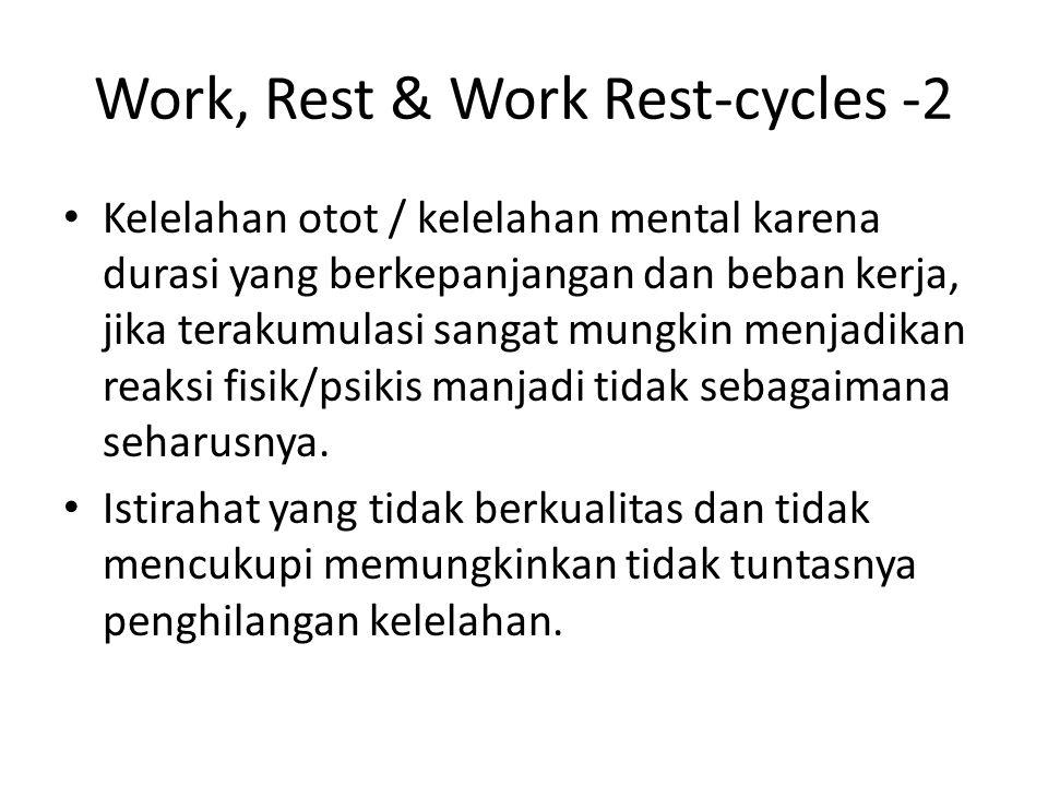 Work, Rest & Work Rest-cycles -2 Kelelahan otot / kelelahan mental karena durasi yang berkepanjangan dan beban kerja, jika terakumulasi sangat mungkin menjadikan reaksi fisik/psikis manjadi tidak sebagaimana seharusnya.