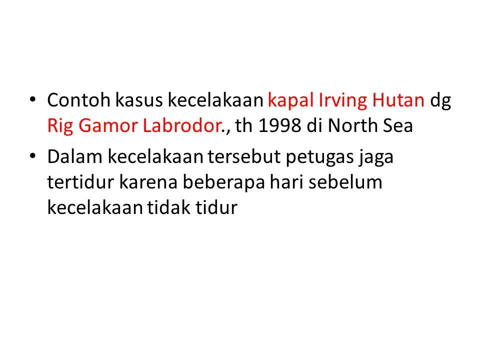 Contoh kasus kecelakaan kapal Irving Hutan dg Rig Gamor Labrodor., th 1998 di North Sea Dalam kecelakaan tersebut petugas jaga tertidur karena beberapa hari sebelum kecelakaan tidak tidur