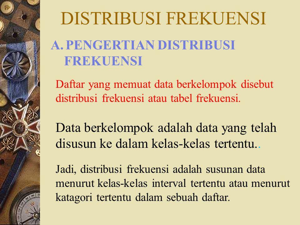 DISTRIBUSI FREKUENSI Daftar yang memuat data berkelompok disebut distribusi frekuensi atau tabel frekuensi.