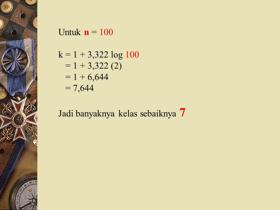 Untuk n = 100 k = 1 + 3,322 log 100 = 1 + 3,322 (2) = 1 + 6,644 = 7,644 Jadi banyaknya kelas sebaiknya 7