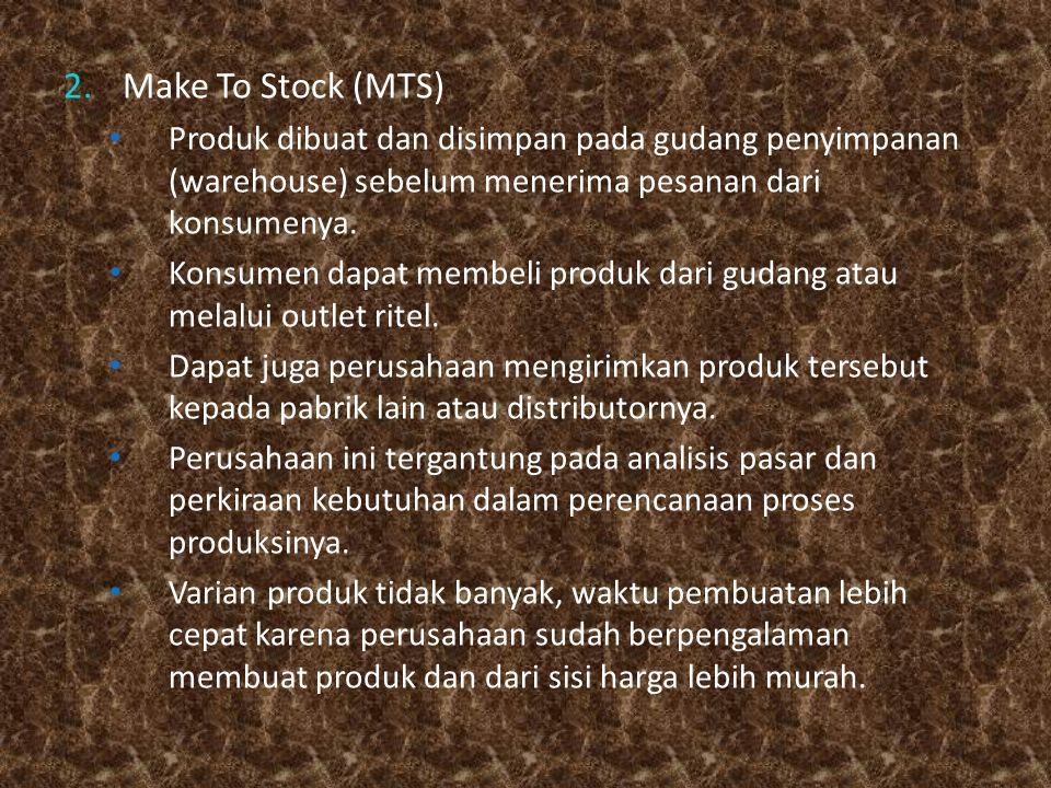 2.Make To Stock (MTS) Produk dibuat dan disimpan pada gudang penyimpanan (warehouse) sebelum menerima pesanan dari konsumenya. Konsumen dapat membeli