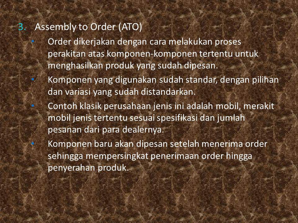 3.Assembly to Order (ATO) Order dikerjakan dengan cara melakukan proses perakitan atas komponen-komponen tertentu untuk menghasilkan produk yang sudah dipesan.