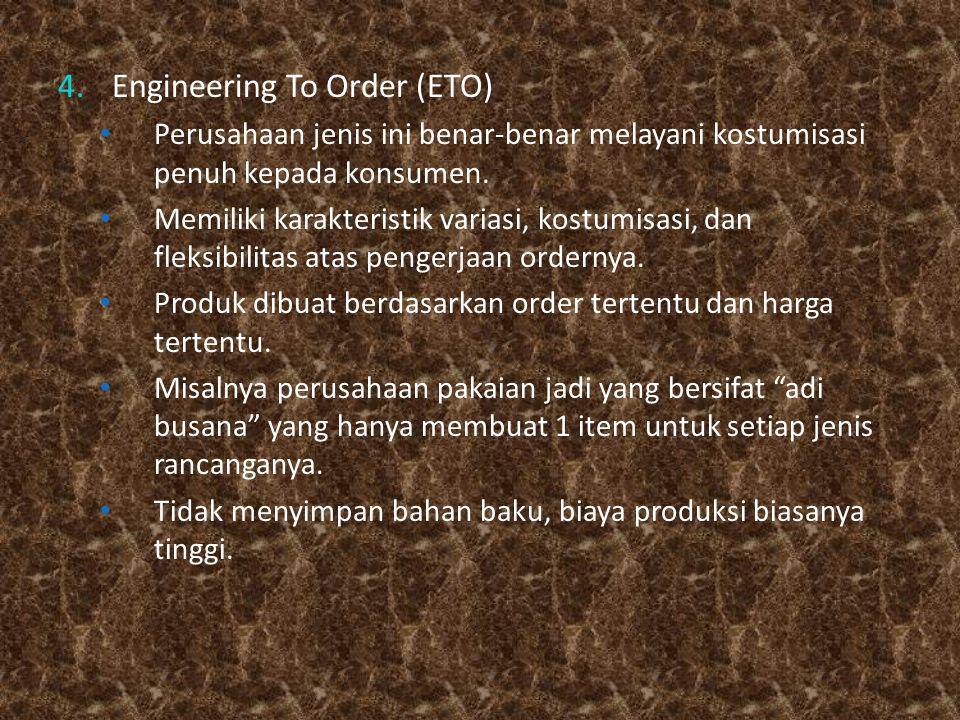 4.Engineering To Order (ETO) Perusahaan jenis ini benar-benar melayani kostumisasi penuh kepada konsumen. Memiliki karakteristik variasi, kostumisasi,