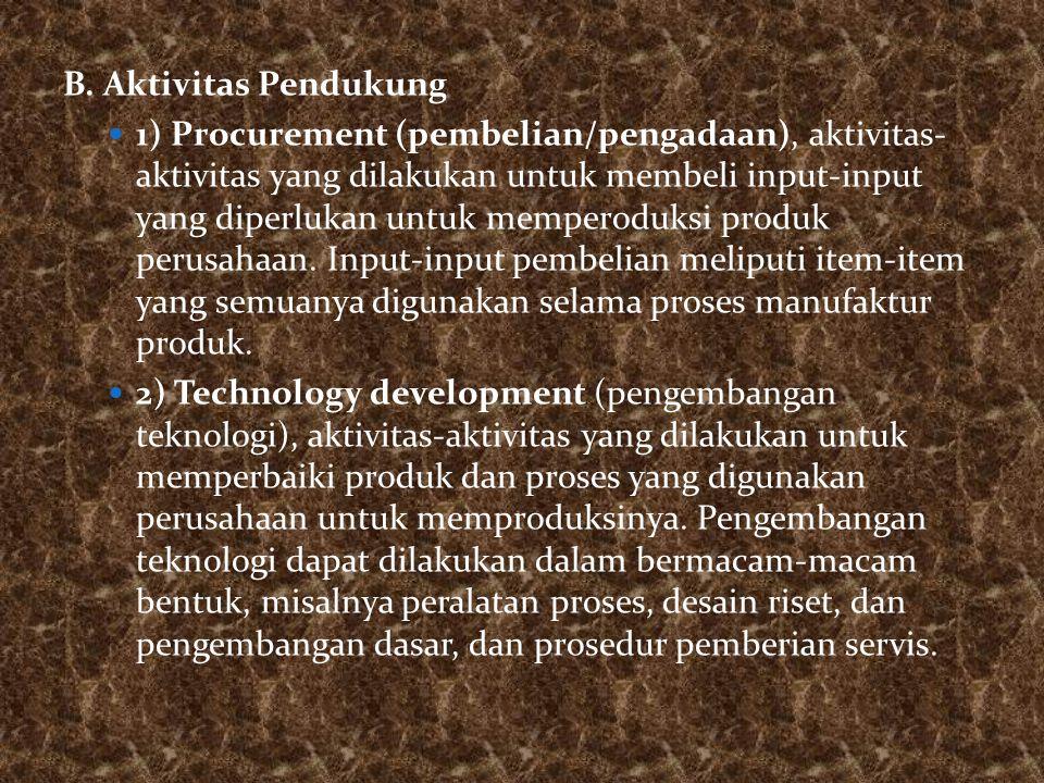 B. Aktivitas Pendukung 1) Procurement (pembelian/pengadaan), aktivitas- aktivitas yang dilakukan untuk membeli input-input yang diperlukan untuk mempe