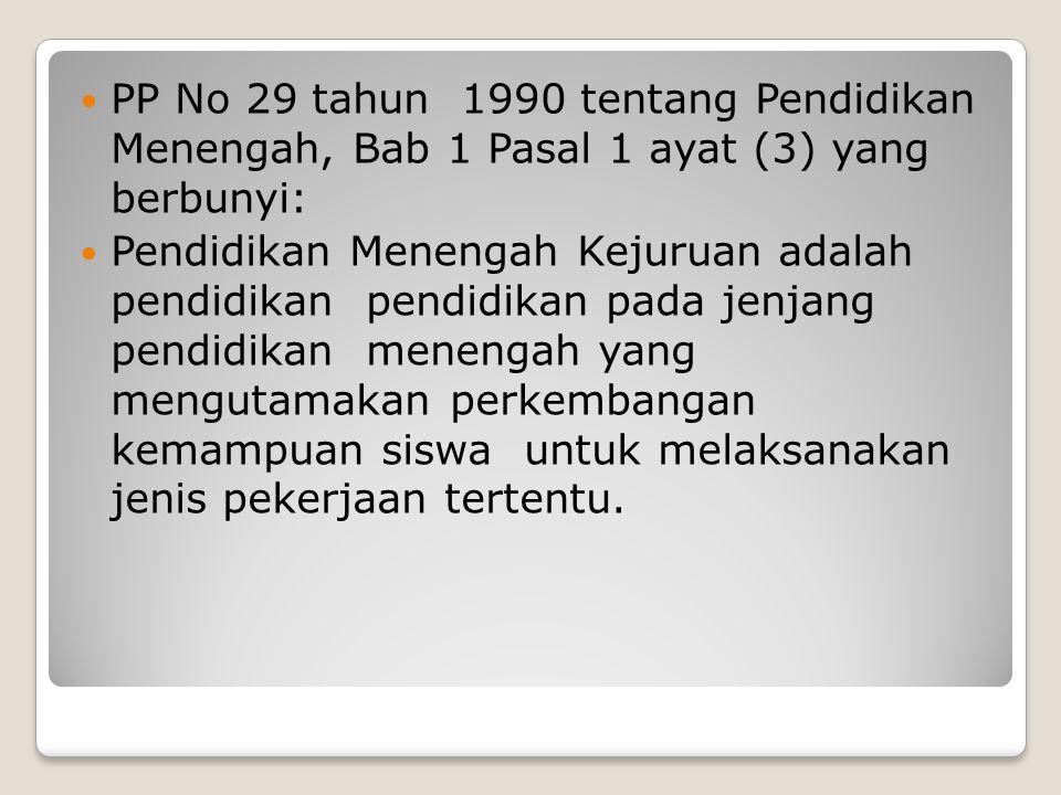 PP No 29 tahun 1990 tentang Pendidikan Menengah, Bab 1 Pasal 1 ayat (3) yang berbunyi: Pendidikan Menengah Kejuruan adalah pendidikan pendidikan pada
