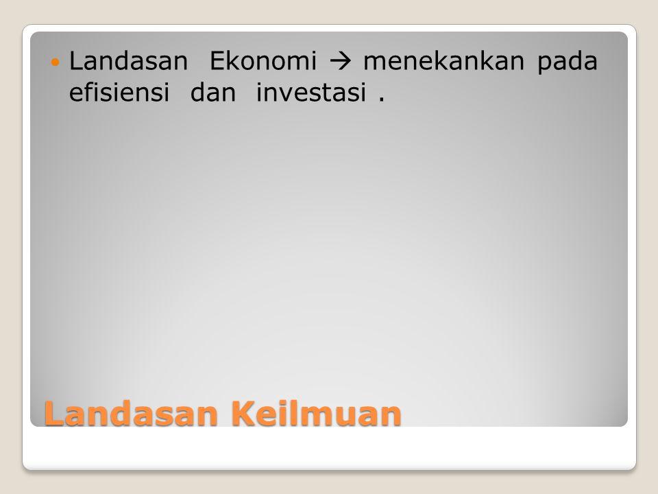 Landasan Keilmuan Landasan Ekonomi  menekankan pada efisiensi dan investasi.