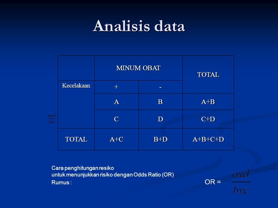 Analisis data MINUM OBAT TOTAL Kecelakaan +- ABA+B CDC+D TOTALA+CB+DA+B+C+D Cara penghitungan resiko untuk menunjukkan risiko dengan Odds Ratio (OR) Rumus : OR =
