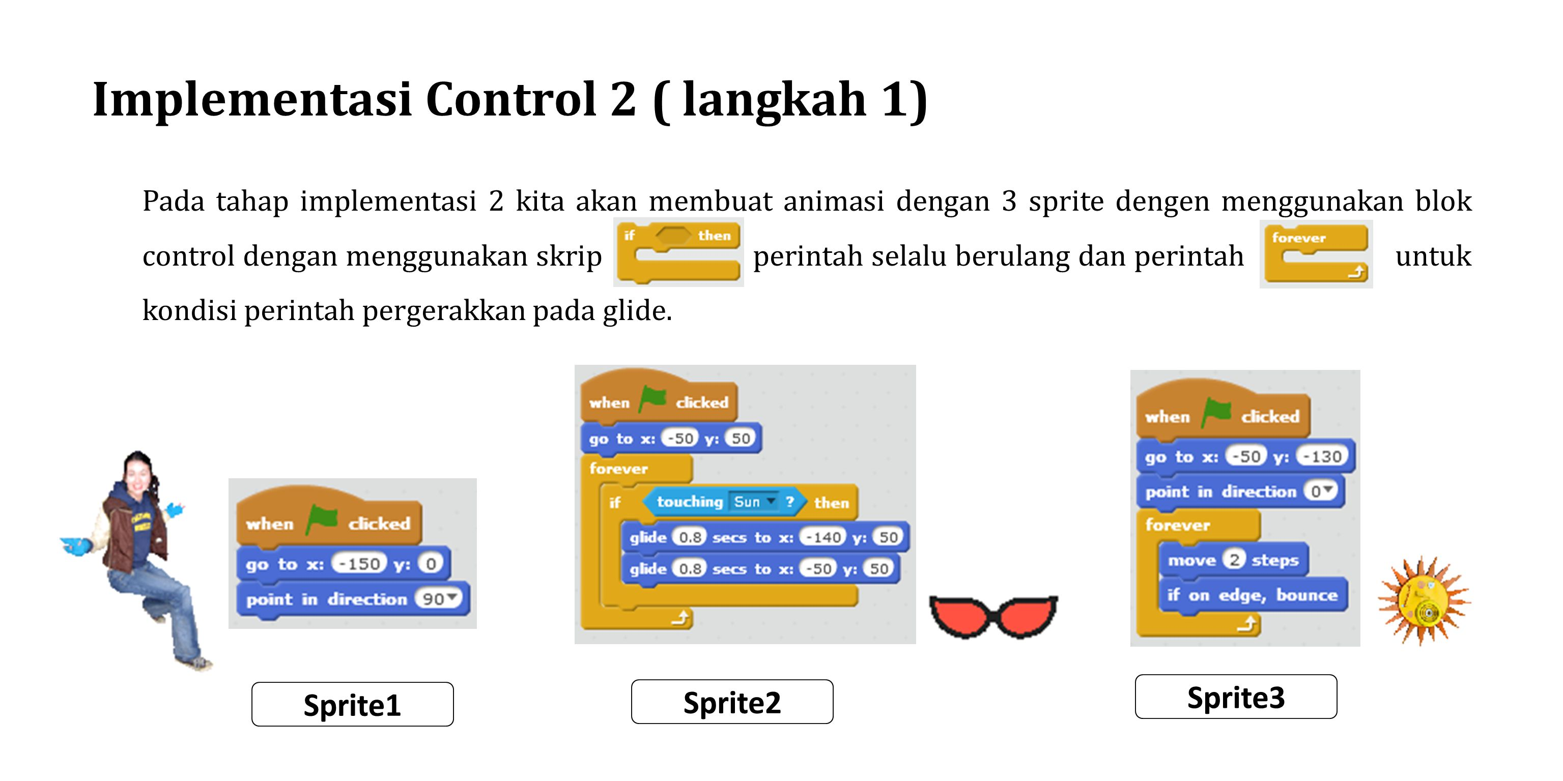 Implementasi Control 2 ( langkah 1) Pada tahap implementasi 2 kita akan membuat animasi dengan 3 sprite dengen menggunakan blok control dengan menggun