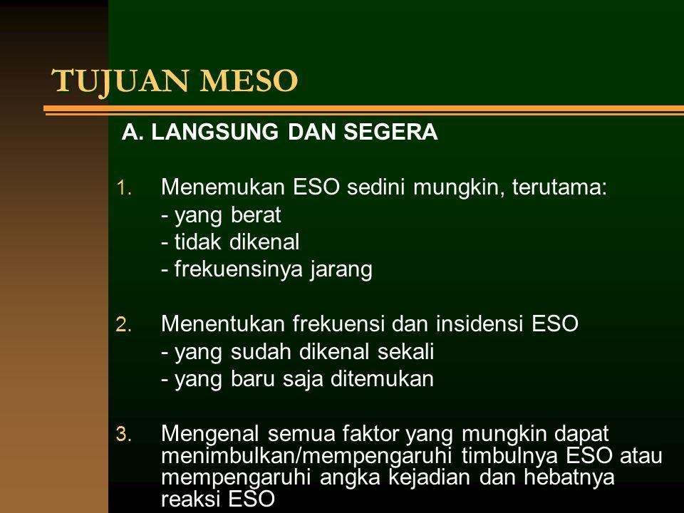 TUJUAN MESO A. LANGSUNG DAN SEGERA 1. Menemukan ESO sedini mungkin, terutama: - yang berat - tidak dikenal - frekuensinya jarang 2. Menentukan frekuen