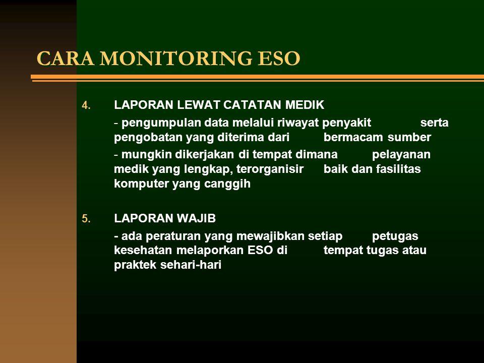 CARA MONITORING ESO 4. LAPORAN LEWAT CATATAN MEDIK - pengumpulan data melalui riwayat penyakit serta pengobatan yang diterima dari bermacam sumber - m