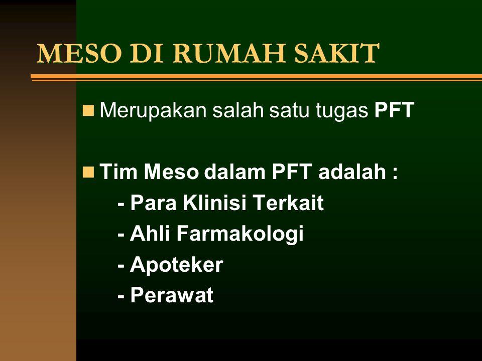 MESO DI RUMAH SAKIT Merupakan salah satu tugas PFT Tim Meso dalam PFT adalah : - Para Klinisi Terkait - Ahli Farmakologi - Apoteker - Perawat