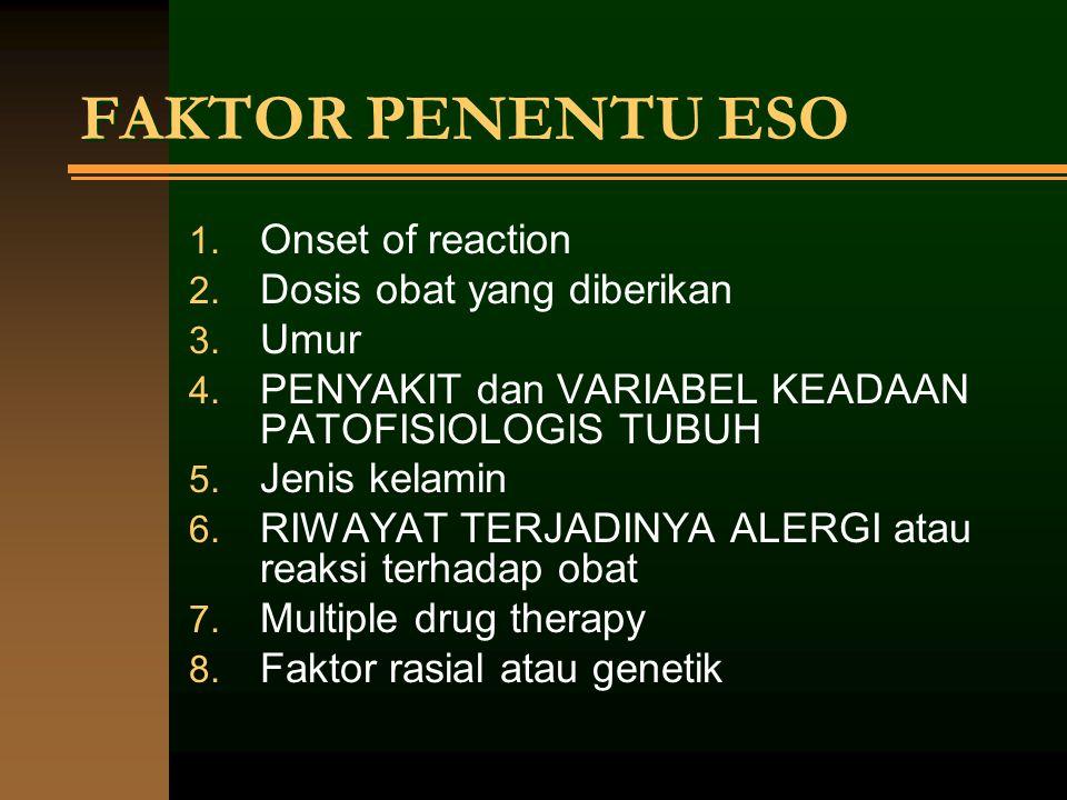 FAKTOR PENENTU ESO 1. Onset of reaction 2. Dosis obat yang diberikan 3. Umur 4. PENYAKIT dan VARIABEL KEADAAN PATOFISIOLOGIS TUBUH 5. Jenis kelamin 6.
