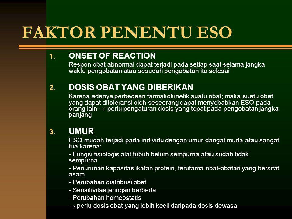 FAKTOR PENENTU ESO 1. ONSET OF REACTION Respon obat abnormal dapat terjadi pada setiap saat selama jangka waktu pengobatan atau sesudah pengobatan itu