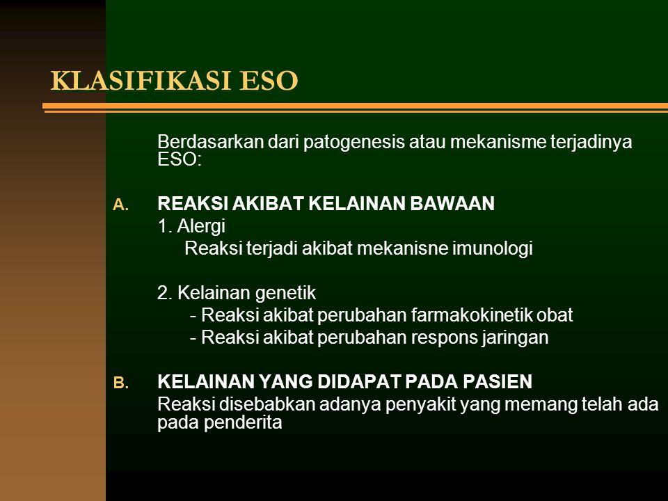 KLASIFIKASI ESO Berdasarkan dari patogenesis atau mekanisme terjadinya ESO: A. REAKSI AKIBAT KELAINAN BAWAAN 1. Alergi Reaksi terjadi akibat mekanisne