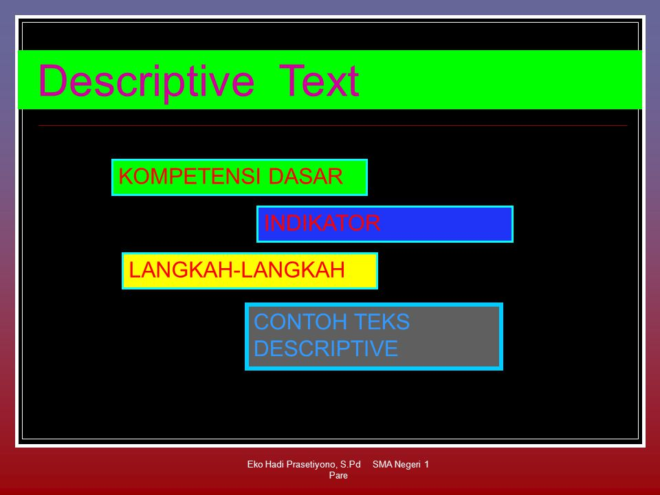 Eko Hadi Prasetiyono, S.Pd SMA Negeri 1 Pare Descriptive Text KOMPETENSI DASAR INDIKATOR LANGKAH-LANGKAH CONTOH TEKS DESCRIPTIVE
