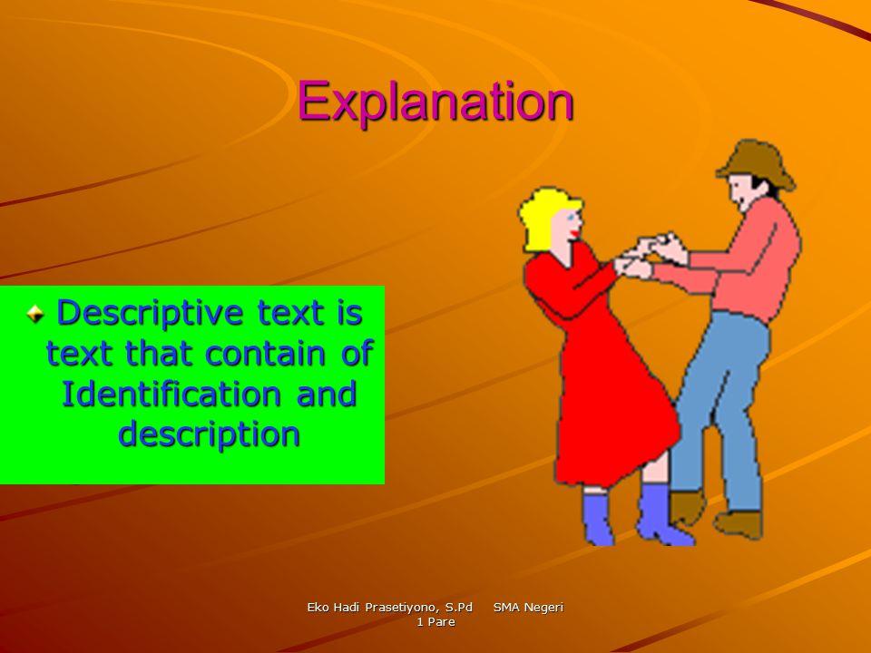 Eko Hadi Prasetiyono, S.Pd SMA Negeri 1 Pare Explanation Descriptive text is text that contain of Identification and description