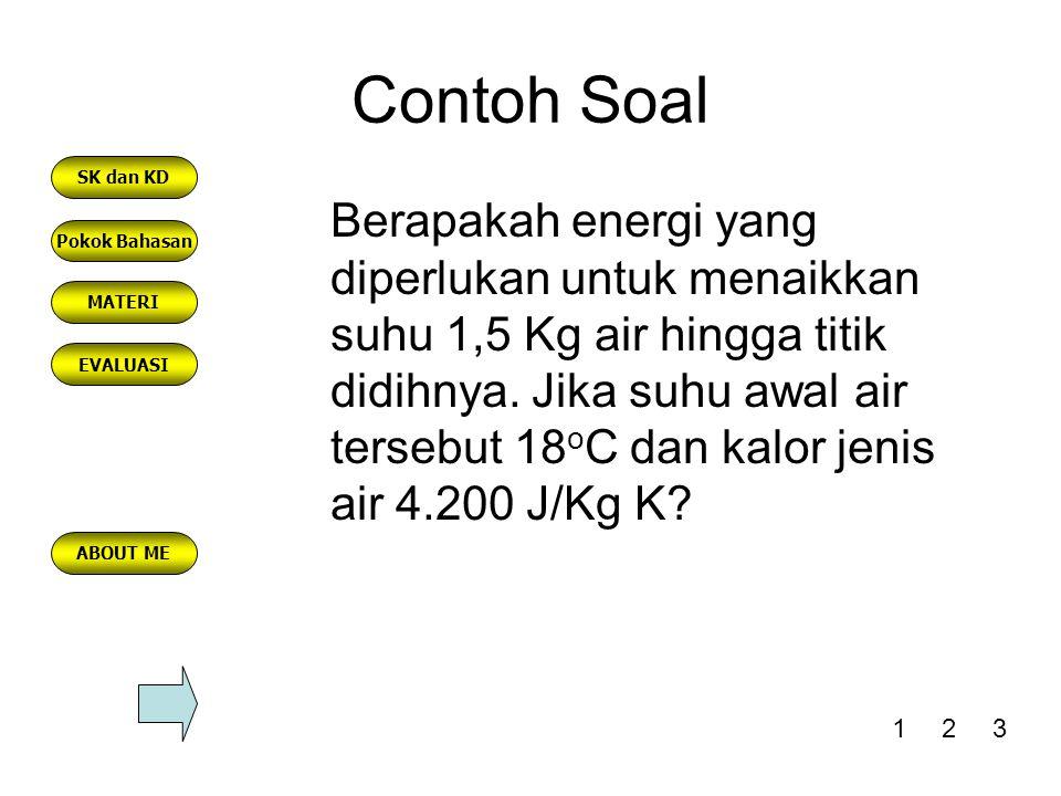 Contoh Soal Berapakah energi yang diperlukan untuk menaikkan suhu 1,5 Kg air hingga titik didihnya. Jika suhu awal air tersebut 18 o C dan kalor jenis