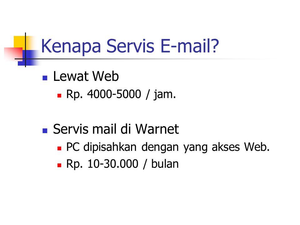 Kenapa Servis E-mail. Lewat Web Rp. 4000-5000 / jam.