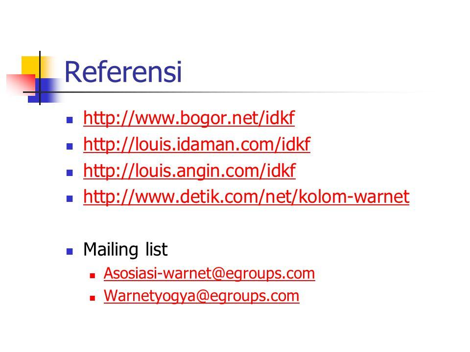 Referensi http://www.bogor.net/idkf http://louis.idaman.com/idkf http://louis.angin.com/idkf http://www.detik.com/net/kolom-warnet Mailing list Asosiasi-warnet@egroups.com Warnetyogya@egroups.com
