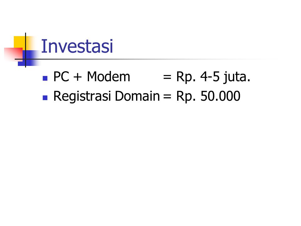 Investasi PC + Modem = Rp. 4-5 juta. Registrasi Domain= Rp. 50.000