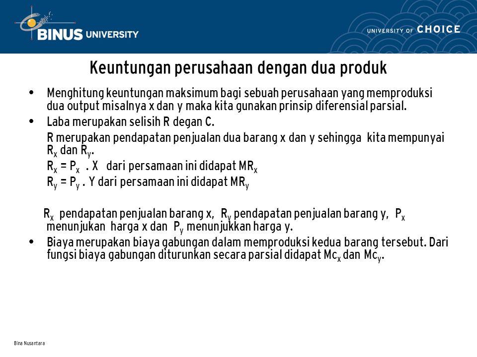 Bina Nusantara Keuntungan perusahaan dengan dua produk Menghitung keuntungan maksimum bagi sebuah perusahaan yang memproduksi dua output misalnya x da