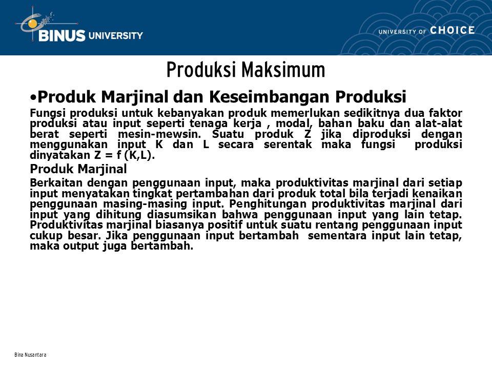 Bina Nusantara Produksi Maksimum Produk Marjinal dan Keseimbangan Produksi Fungsi produksi untuk kebanyakan produk memerlukan sedikitnya dua faktor pr