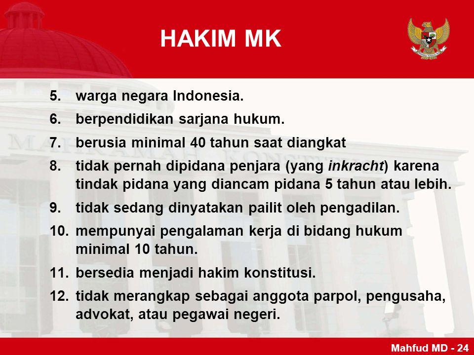 5.warga negara Indonesia. 6.berpendidikan sarjana hukum. 7.berusia minimal 40 tahun saat diangkat 8.tidak pernah dipidana penjara (yang inkracht) kare