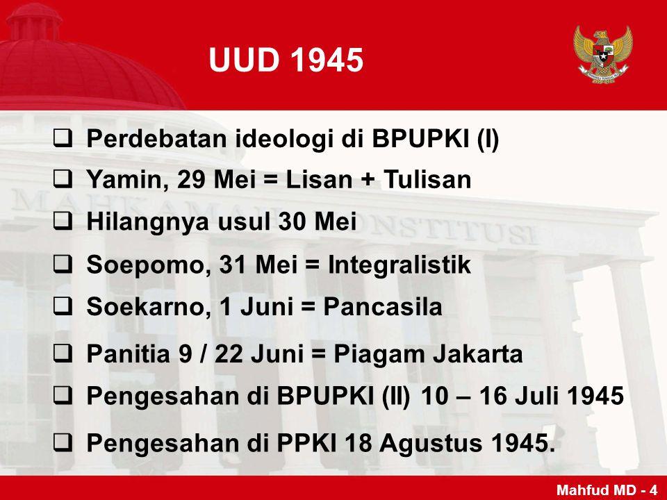 UUD 1945  Perdebatan ideologi di BPUPKI (I)  Yamin, 29 Mei = Lisan + Tulisan  Hilangnya usul 30 Mei  Soepomo, 31 Mei = Integralistik  Soekarno, 1