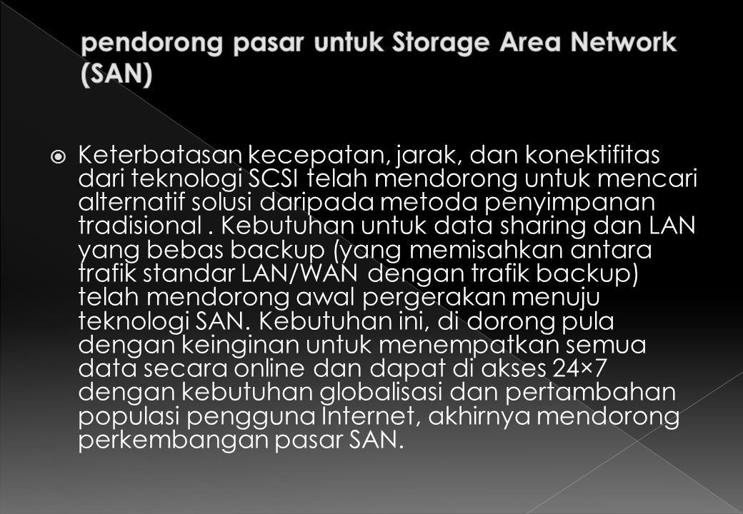 SAN sebetulnya sangat mirip dengan LAN, terutama dalam metoda penyambungan sistem dengan perangkat keras dan perangkat lunak protokol yang standar.
