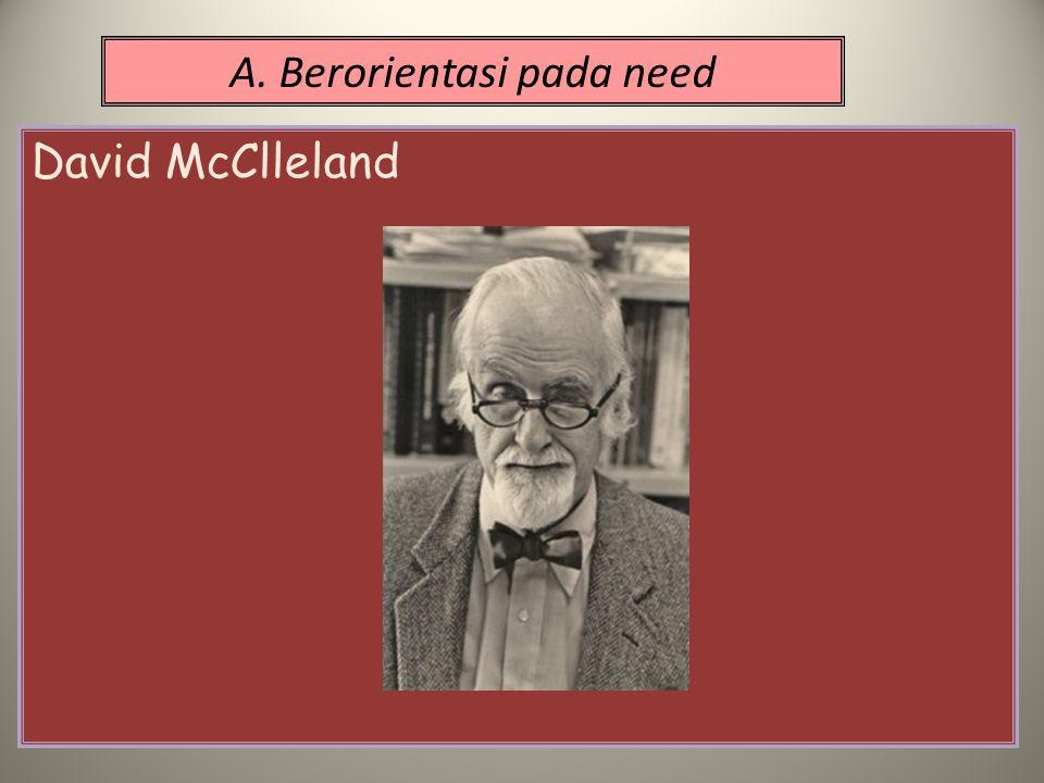A. Berorientasi pada need David McClleland